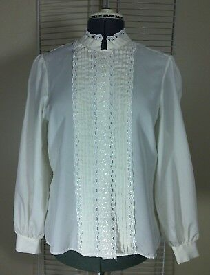 Vtg Ladies Ivory Embroidered Victorian Pin Up Rockabilly Holiday Party Blouse XL