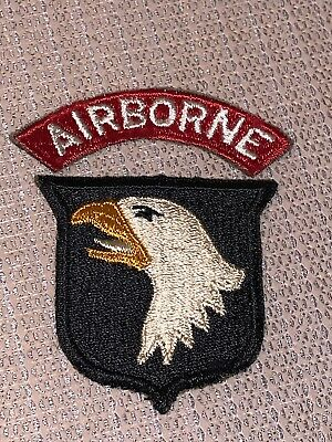 Ww2 101st Airborne Paratrooper Greenback White Tongue Patch Grouping