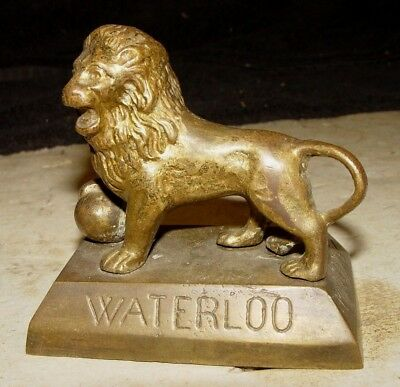 Estate Antique Vintage Cast Brass Figural Waterloo Lion Statue Desk Paperweight