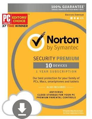 Norton Security Premium 10 Devices PC/Mac/Phone instant Digital Delivery no ship