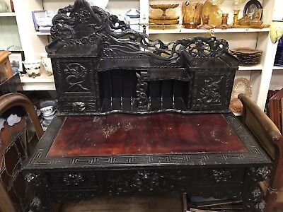 Antique Chinese Desk W/ Original Matching Chair  Highly carved Dragons Nice Old