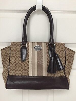 af2f6b141b COACH LEGACY Khaki SIGNATURE STRIPE Small CANDACE CARRYALL Dust BAG  298  19915