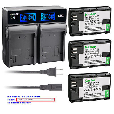 Kastar Battery LCD Rapid Dual Charger for Canon LP-E6 LC-E6 & Canon EOS 7D SV