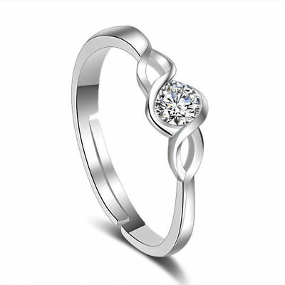 Ladies 925 Stamped Silver Plated White Crystal Dress  Ring Size 8 Adjustable
