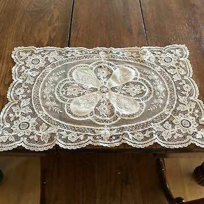 Intricate Antique Handmade European Crochet Lace Ivory Floral Design Placemats