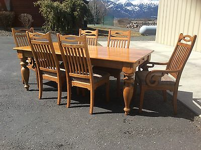 Lexington American Country West Ponderosa Dining Set Solid Oak Made Usa 901-874