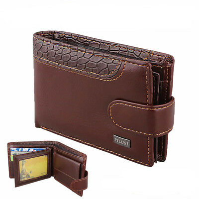 AU Mens Luxury Leather Wallet Credit Card Holder Soft Quality Purse Brown