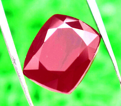 Ggl Certified 11.55Ct Natural Looking  Mozambique Red Ruby Cushion Cut Gemstone
