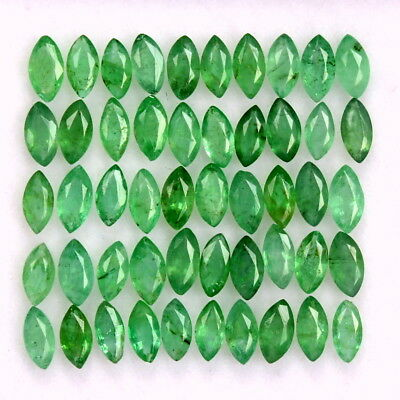 3.16 CTS Natural Emerald Marquise Cut 4x2 mm Lot 40 Pcs Untreated Loose Gemstone