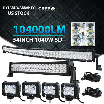 """54Inch Curved LED Light Bar + 22in + 4"""" CREE Pods Offroad SUV ATV Ford Jeep 50"""""""