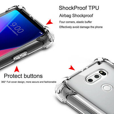For LG V30 V40 ThinQ/G6 G7 ThinQ/Aristo 2 Shockproof Clear Bumper TPU Cover Case