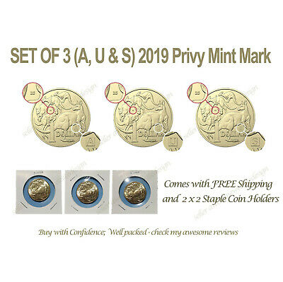Set 2019 UNC A,U,S Privy Mark $1 One Dollar Discovery Australian Coins in Holder
