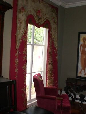 Elegant Antique Aubusson  French Tapestry Drapery  Rose Floral Pair 19th Century