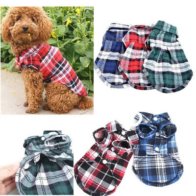 Small Dog Puppy Plaid T-shirt Cat Pet Outfit Clothes Jacket Summer Outwear