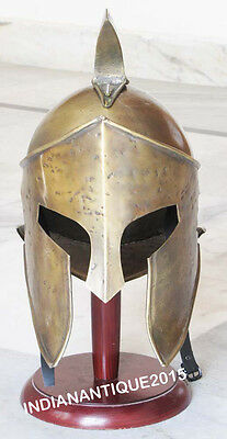 Brass ANTIQUE King Leonidas Spartan Knight 300 Movie Armor helmet