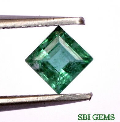 Certified Natural Emerald Square Cut 4 mm 0.43 Cts Lustrous Green Loose Gemstone