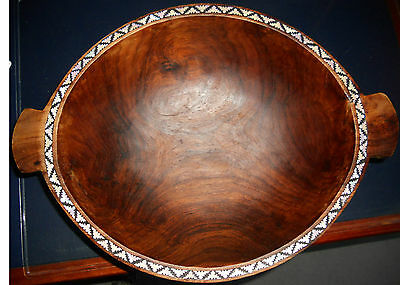 Extra large Solomon Island carved wood bowl w mother of pearl shell inlay 1970s