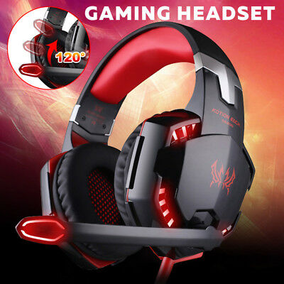 3.5mm Gaming Headset MIC LED Headphones Surround for PC Laptop PS4 Xbox One RED