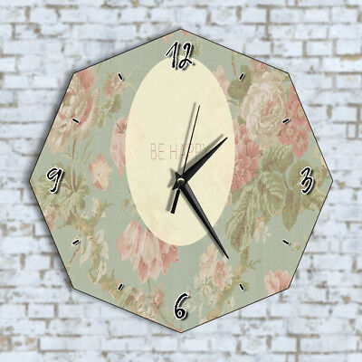 Be Happy Floral Vintage - Home Office Kitchen Kids Living Room Decor Wall Clock
