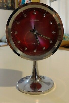 Sveglia Retro Vintage Rhythm Mechanical Alarm Pedestal Clock Atomic Era 2 Jewels