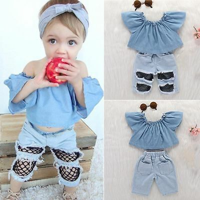 1f5ecab1d6a6d Toddler Kids Baby Hole Jeans Denim Pants Off Shoulder Tops Girls Clothing  Set