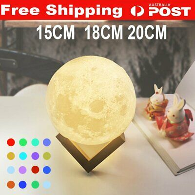 Dimmable 3D LED Moon Lamp Magical USB Night Light Moonlight Touch Sensor Remote