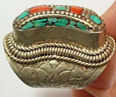 HUGE MEDIEVAL SILVER RING WITH RARE MIX STONES 24.6gr 40mm (inner 19mm)