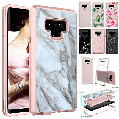 Samsung Galaxy Note 9 Marble Glitter Clear Hard Shockproof Heavy Duty Case Cover