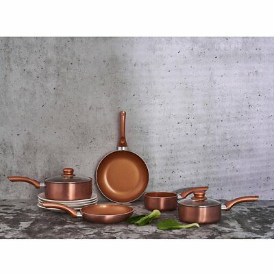 5pc Alu Induction / Gas Pan Set Ceramic Copper Style Kitchen Non-Stick Cookware