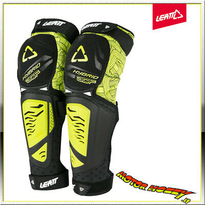Ginocchiere Moto Mtb Leatt Knee & Shin Guard 3Df Hybrid Ext Lime Black Tg. S/M