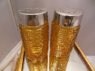 "Vtg Amber Pressed Glass Salt & Pepper Shakers--3 1/4"" Tall"