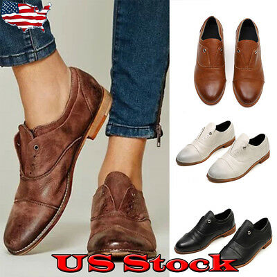 Retro Womens Fashion Round Toe Slip On Low Heel Dress Oxfords Shoes Loafers Size