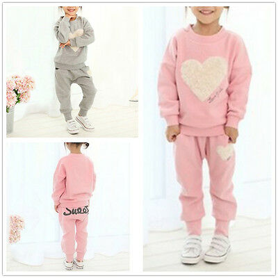 UK 2PCS Kids Baby Girls Clothes Outfits Cotton T-shirt Tops Tracksuit+Pants Set