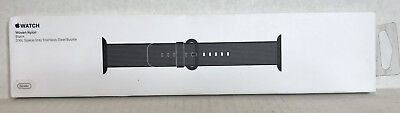 NEW Apple Watch 38mm Woven Nylon & Black Stainless Steel Buckle MM9L2AM/A Metal