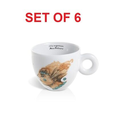 illy Art Collection 2018 Max Petrone Set Of 6 Cappucinno Cups + Saucers IPA L.E