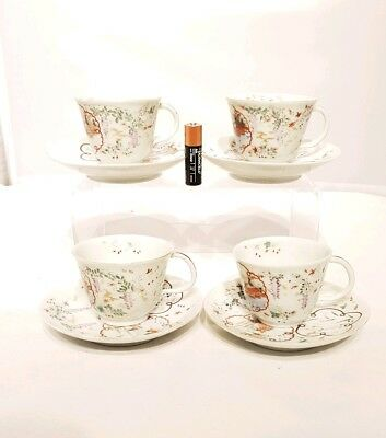 Job Lot 4 x 20thC Japanese Antique Famille Rose Art Deco Period Cup & Saucer AF