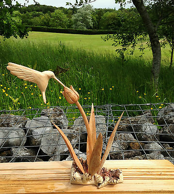 ChiselCraft Hand Carved Wooden Hummingbird in Flower Bud & Reeds Humming Bird B