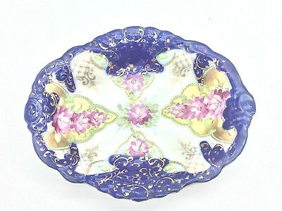 Antique Cobalt Blue Flow Porcelain Hand Painted Pink Floral & Gold Dish
