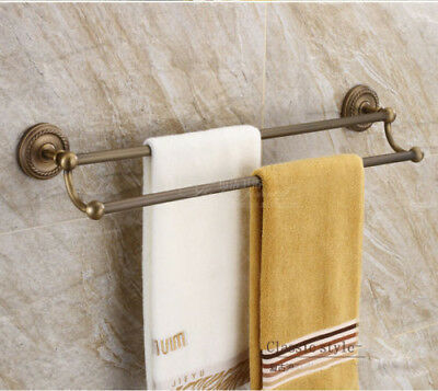 Antique Brass Bathroom 2 Holes Two Row Towel Bars Rails Wall Mount Assembly dg65