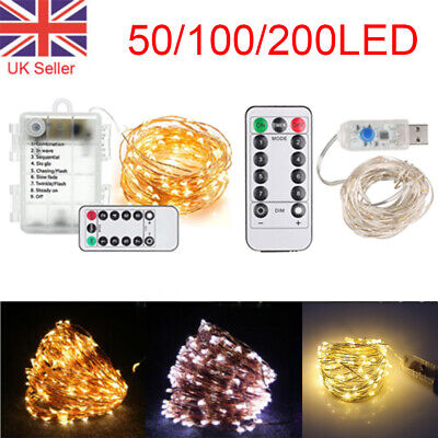 50/100/200 LED Battery Micro Fairy String Lights Wire Copper Xmas Remote Control