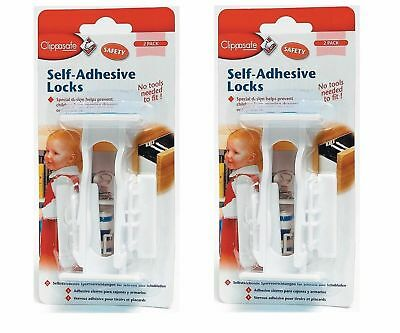 Clippasafe Self-Adhesive Cupboard & Drawer Locks 2 - 4 Pack Child Toddler Safety