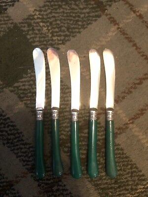 Pretty Set Of 5 Butter Knives With Hallmarked Silver Collars