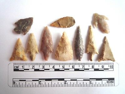 Neolithic Arrowheads x 10, High Quality Selection of Styles - 4000BC - (2460)