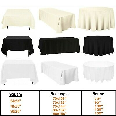 Polyester Tablecloth Cover Wedding Party Dining Table Cloth White Black Ivory