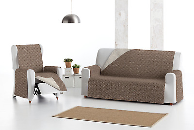 Funda de sofa marrón chaise longue,  reversible para  1,2,3,4, plazas Eysa Mist