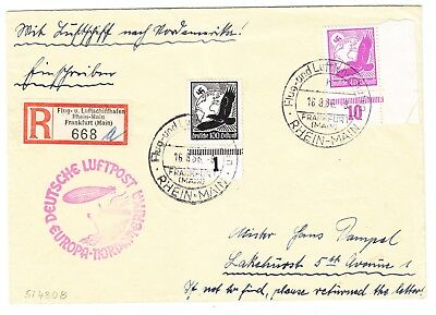 Germany REGISTERED ZEPPELIN COVER TO USA 1936