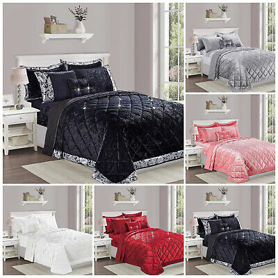 3 Piece Velvet Quilted Bedspread Bedding Set with Pillowcases Double king S King