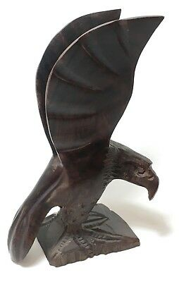 "Antique Vintage Hand Carved Wood Walnut 6.5"" American Eagle Carving Nice Detail"