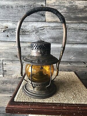 Vintage Railway/Railroad Lantern Adlake Reliable Amber Globe