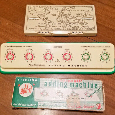 Lot of 3 vintage items - 2 Sterling Dial-A-Matic Adding Machines + World Map Box